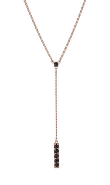 Nicole Fendel | Zara Drop Necklace Rose Gold/Onyx | FREE SHIPPING NZ WIDE