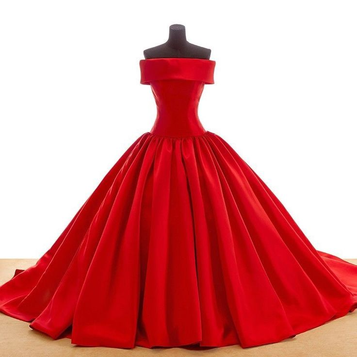 Red Custom Made Color Wedding Dresses Ball Gown Satin Simple bridal dress 2016