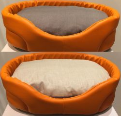 Eh Gia Oval Bed Leather Orange ( verkrijgbaar in 7 maten )