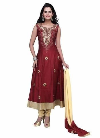 Maroon Art Silk Salwar Kameez ,Indian Dresses