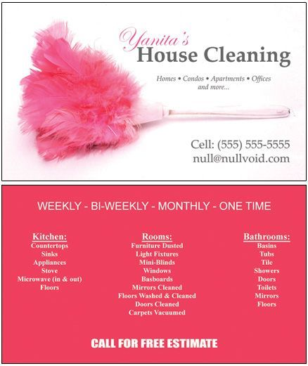 Samples of Cleaning Business Cards | ... Business Cards, Custom Office Cleaning Cards, Maid Service Business