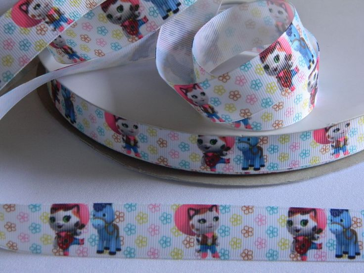 """Sheriff Callie Grosgrain White Ribbon 5 yards of 7/8"""" Callie & Sparky with Colorful Flowers Western Horse Cowgirl Birthday Party Favor Ties by HouseofHairDecor on Etsy"""