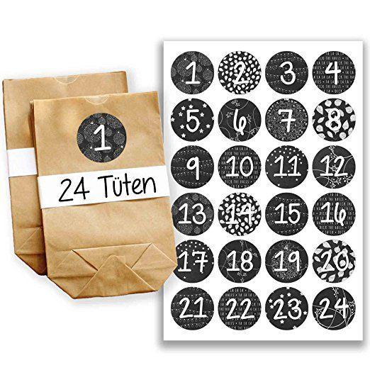Adventskalender Miniset 16 - Aufkleber und Tüten