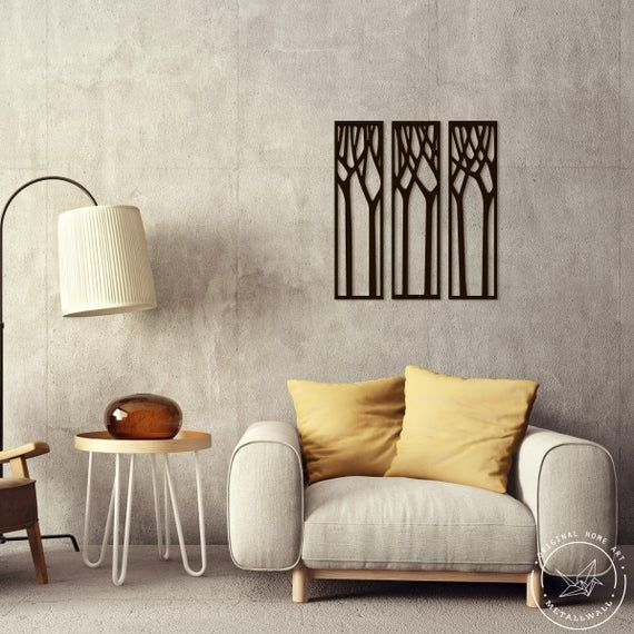 Metal Wall Art Panel Trees Home Decor Interior Sign Steel Office Gift Living Room Monochromatic Large Lodge Boho Pan Black White In 2020 Metal Wall Art Panels Home Decor Decor