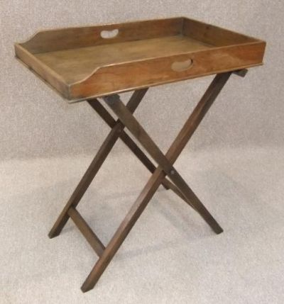 Victorian Butlers Tray. A Traditional, Late Victorian, Solid Oak Butleru0027s  Tray With Stand
