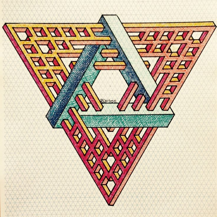 #impossible #isometric #penrosetriangle #Oscar_reutersward #symmetry #geometry #pattern #Escher #mcescher #handmade #handpaint #triangle #triangleimpossible #artist_sharing #art_empire  1