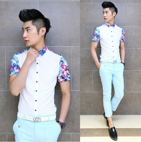 2014 Man New Popular Design Floral Splicing Shirt Slim Stylish Fancy Shirts Cheap Price Good Quality $22.99