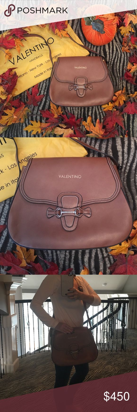 🍁💯AUTHENTIC Valentino Bag🍁 🍁Perfect for fall..... NWT leather Valentino crossbody bag.  Rich cognac color, duster included!🍁No Trades! Valentino Bags Crossbody Bags