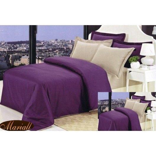Obliečky na manželskú posteľ fialovej farby bavlnený satén