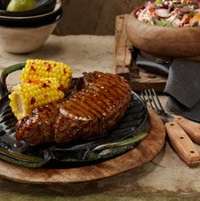 New York Strip Steak with Coleslaw & Corn on the Cob