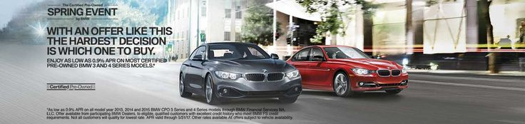 Enjoy as low as 0.9% APR on most Certified Pre-Owned BMW 3 and 4 Series models this month at Cain BMW! http://www.cainbmw.com/Cain-Bmw-CPO
