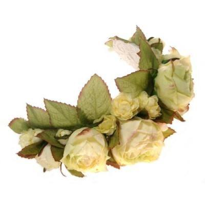 髪飾り・ヘッドドレス/オールドイングリッシュローズのボンネット(オフホワイト) - ウェディングヘッドドレス&花髪飾りairaka