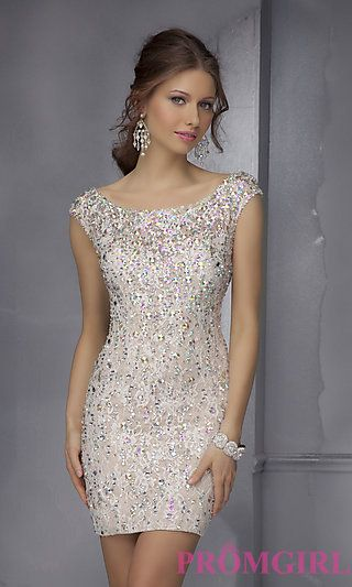 Prom Dresses, Celebrity Dresses, Sexy Evening Gowns - Short Beaded Dress with Open Back