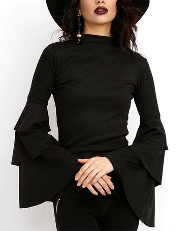 Another great find on #zulily! Black Ruffle-Sleeve Top #zulilyfinds