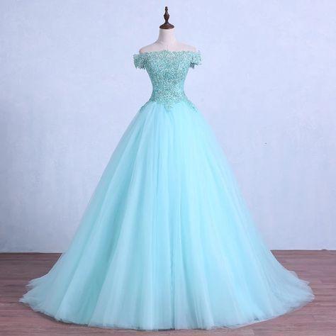 Lace-up luz verde tule vestido de baile de casamento beading apliques de cristal quinceanera vestidos até o chão vestido de festa de casamento   – Abendkleider, Ballkleider