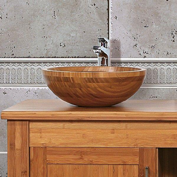 NeuTrends NEG Waschbecken Madera R35 (rund) Aufsatz-Waschschale/Waschtisch (Bambus-Holz massiv) Oberfläche versiegelt/karbonsiert