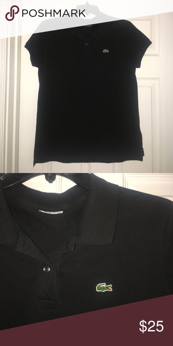 Lacoste Collared Fitted Top Black Lacoste T-shirt with a collar and two buttons. It is a gently worn fitted size 12 top. Lacoste Tops Tees - Short Sleeve