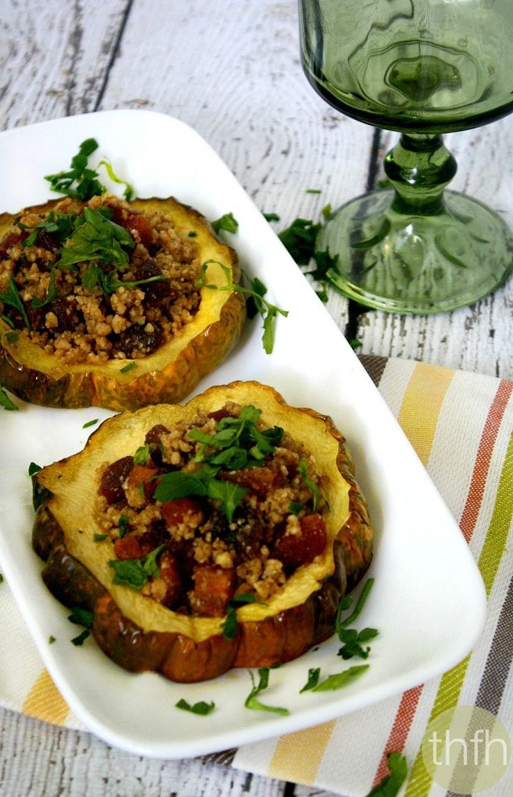Clean Eating Acorn Squash Rings with Walnuts and Dried Apricots...made with clean ingredients and it's vegan, gluten-free, dairy-free, paleo-friendly and no refined sugar | The Healthy Family and Home