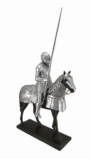 Medieval Knight in Armor Mounted on Horseback w/Jousting Lance