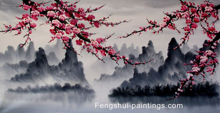 Cherry blossom tree painting feng shui paintings hand for Cherry blossom mural works