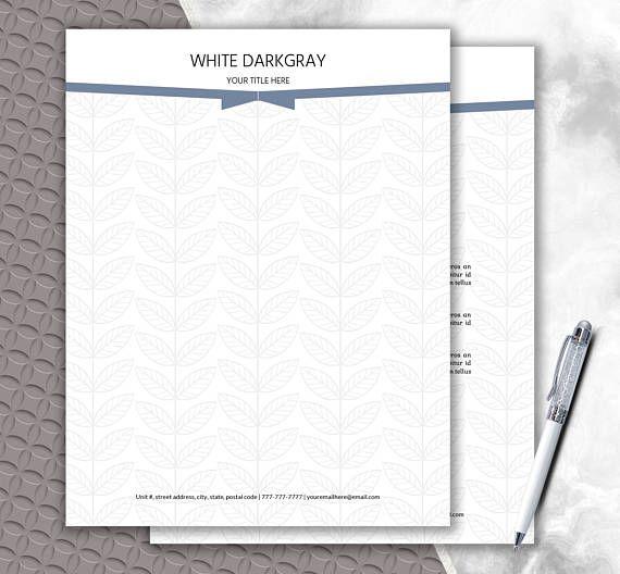 Elegant Letterhead  Pattern Design  Printable Stationery