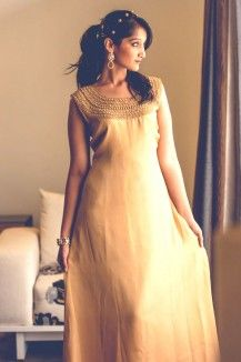 Gold Bead Work Gown  Rs. 7,279