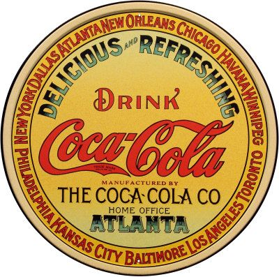 Coca-Cola Yellow and Red Round Tin Sign, 12 x 12 inch, delicious and refreshing #vintage #memorabilia #tinsigns
