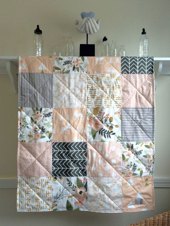 This blush Sprigs and Blooms baby quilt is made from high quality cotton designer fabrics in blush pink,peach, mustard, white, and grey,  You have a choice of backing fabric for this quilt: ~ either high quality organic cotton flannel in white ~ or super soft Minky Dot (photos 4 & 5) in your choice of color. Minky Dot adds a lush contemporary touch to your quilt. It has that sink-your-face-in sumptuousness that you will not get with any other fabric. In the middle is a layer of cotton…