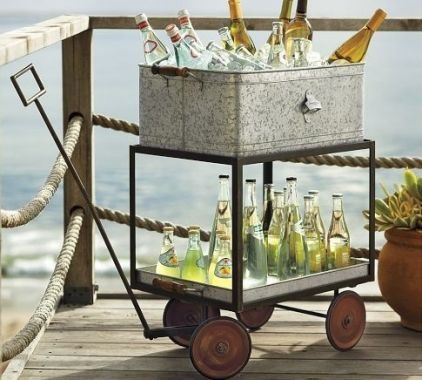 Serving drinks from this cute rolling cart would add a touch of whimsy to your party space.