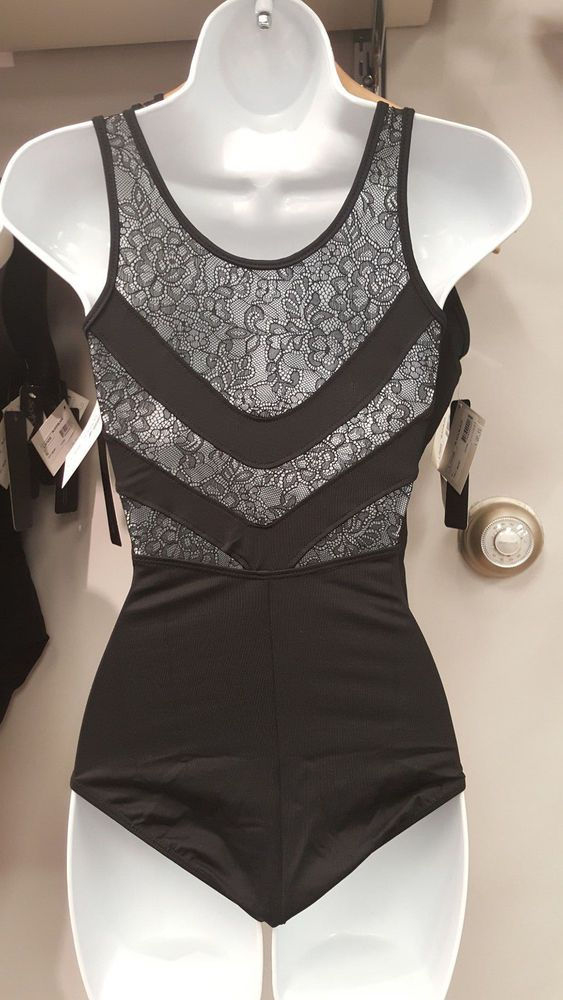 NEW DANCE BODYSUIT LEOTARD Black LACE Back L752 Micro Fiber AS Small