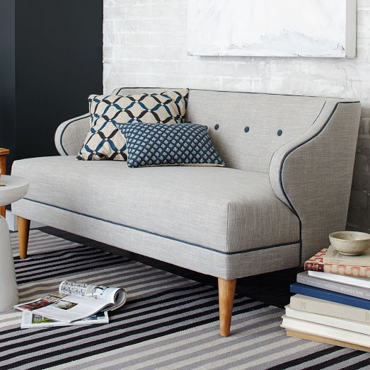 NEW! The playful piping on our Captain's Settee accentuates its rounded arms and full bench seat. Each is crafted in the USA with hand-built frames and hand-finished upholstery.
