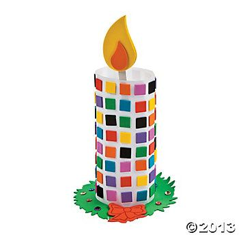 Mosaïc Candle ; Toilet roll, little foamboard squares and flame shape, stick........