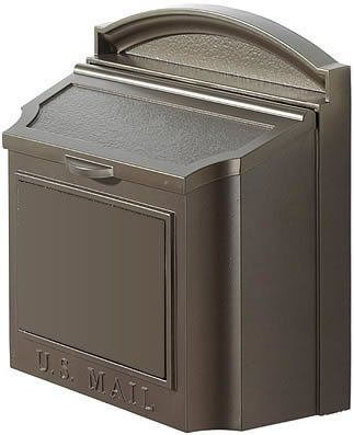 """Whitehall Wall Mount Locking Mailbox 16104 by Whitehall. $186.99. 14 1/2"""" w. x 15 1/2 h. """" x 7 3/8"""" deep. 11 1/2 lbs. Incoming Mail Slot: 12"""" x 1 1/2"""" (with locking insert). Mounting Hardware included.. Overall opening: 5"""" x 13"""". Locking insert is removable if you don't want to use it.. A new luxury mailbox of 100 powdercoated aluminum it'll last a lifetime. 20 larger than most premium mailboxes, it holds multiple days worth of mail, and now with a locking insert The removable..."""