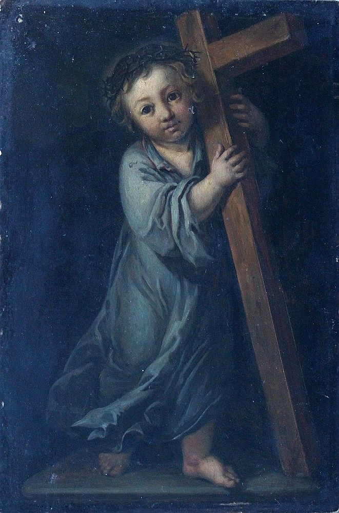 Giulio Cesare Procaccini (1574-1625)-follower, Jesus carrrying the Cross; oil on wooden panel, framed.  <br> 27x18cm