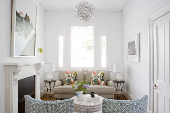 T01 Architecture - Projects - Paddington  living room, terrace lounge, blue chairs calm cosy fireplace mantle painted white