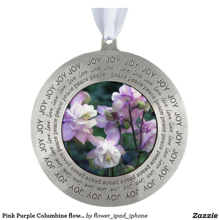 Pink Purple Columbine flowers Round Pewter Christmas Ornament
