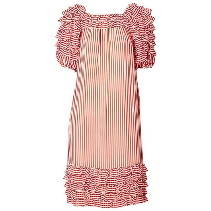 Guy LaRoche Striped Chiffon Dress With Ruffles 1