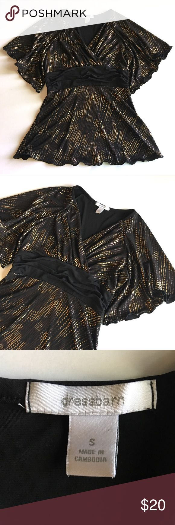 """❤ Dressbarn Batwing Blouse Ruched Waist Dressbarn faux wrap Blouse with Batwing sleeves // Sz S // 94% polyester, 6% spandex // lining 100% polyester // Rouched waist // Metallic Polka Dot print // black blouse with bronze / gold / brown Polka dots // non-smoking home // 19"""" across armpits // 13"""" sleeves // 15"""" waist // 27"""" length // 6.23.20.65 // offers welcome Dress Barn Tops Blouses"""