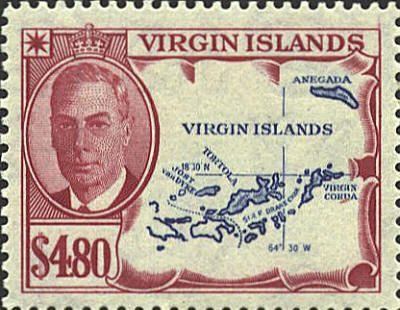 British Virgin Islands. One of the 14 British Overseas Territories, the Virgin Islands are split between Britain and the US. There is also an error on this stamp: the island on the far east is not Virgin Corda, but Virgin Gorda. The dotted line divides between the British Virgin Islands on the east and the American Virgin Islands on the west.