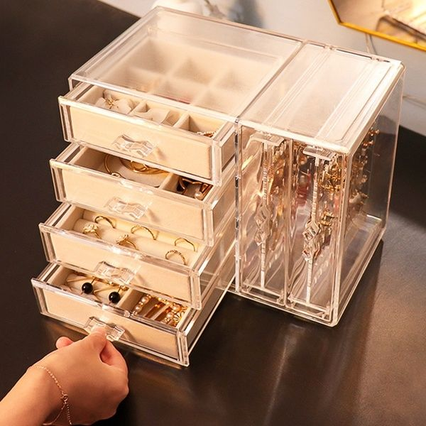 Not Including Jewelry Dustproof Transparent Acrylic Earrings Jewelry Storage Box Display Stand Rack Tray Wish Jewellery Storage Large Jewelry Box Jewelry Organizer Box