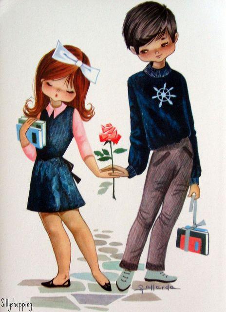 Vintage Big Eyed Couple Postcard    by Gallarda