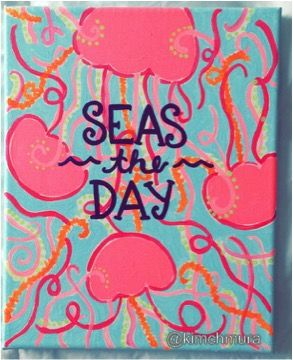 "lilly pulitzer jellies be jammin jellyfish canvas painting ""seas the day"""