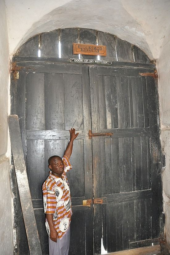 Door Of No Return, Slave Castle, Cape Coast, Ghana. Recently a DOOR OF RETURN has been added. This signifies the return of the slaves descendents to Ghana to acknowledge the history of their ancestors and each year Ghana celebrates Emancipation Day which welcomes the people from the Diaspora back to their homeland.