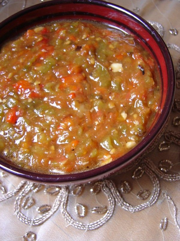 Slata Mechouia (Roasted Bell peppers and Tomatoes with Garlic) ---- #vegetable