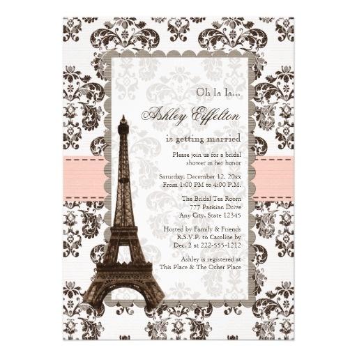 21 best paris themed bridal shower invitations images on pinterest parisian pink bridal shower invitations filmwisefo