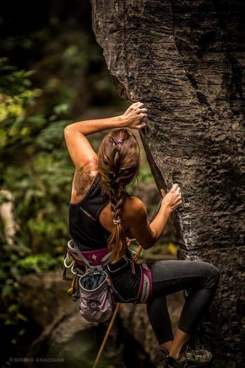 Rock climbing women extreme