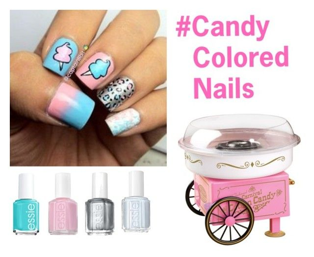 """Cotton Candy Nails"" by homeexpert14 ❤ liked on Polyvore featuring beauty, Cotton Candy, Essie, nailart and candy"