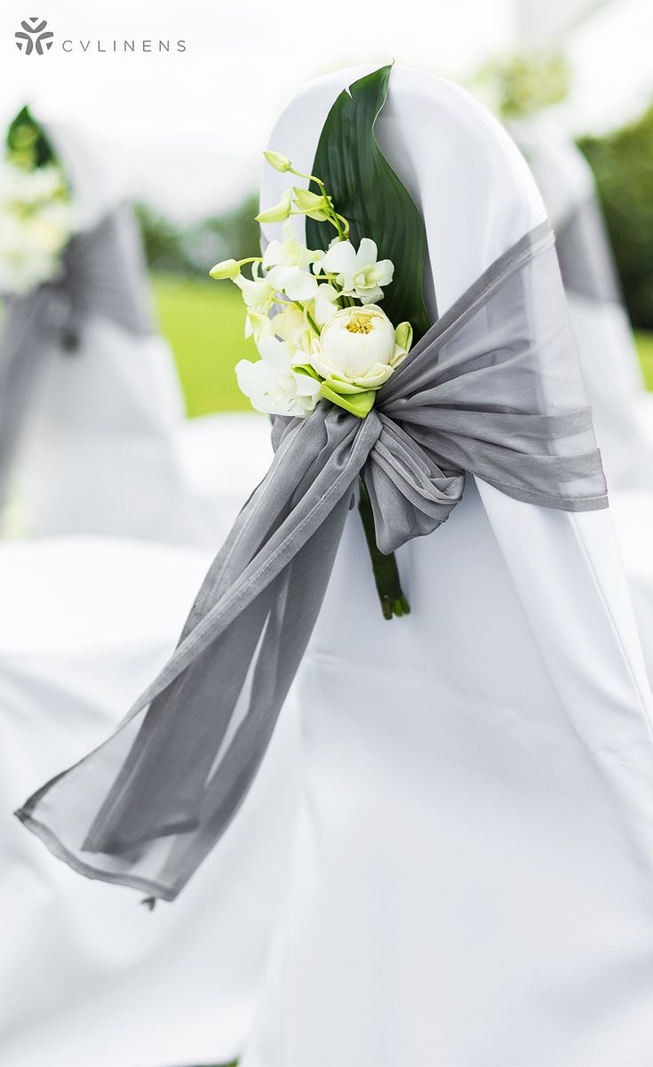 Gray Chair Covers For Weddings Dining Room Chairs Only Wedding Ceremony Silver Sash And White Cover Design Decor Outdoor