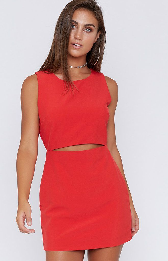 Say hello to the answer to all your wardrobe problems with the Haden Front Slit Dress Red! This sleeveless mini features a high neck and an edgy cut-out at the