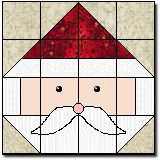 Santa's Face quilt block free pattern. 12 in. block. Get started on that Christmas project early!